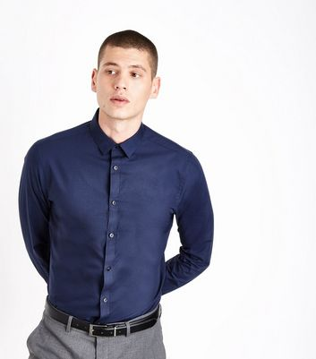 Navy Poplin Long Sleeve Shirt