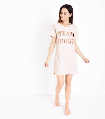 Pink Team Bride Print Nightshirt