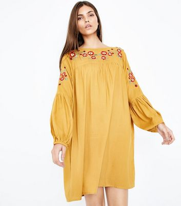 Yellow Floral Embroidered Balloon Sleeve Smock Dress