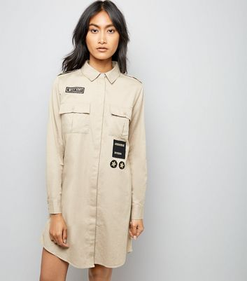 Stone Military Embroidered Patch Shirt Dress