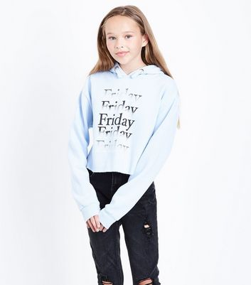 Teens Pale Blue Friday Slogan Hoodie