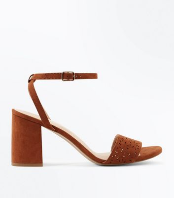 Tan Comfort Flex Suedette Cut Out Heeled Sandals