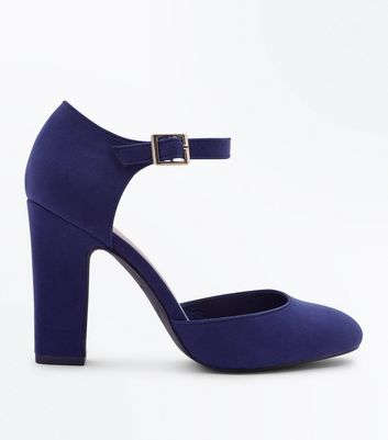 Wide Fit Navy Suedette Round Toe Courts