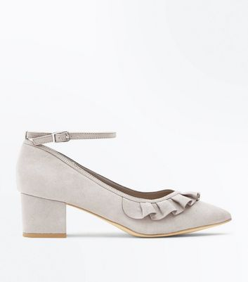 Wide Fit Grey Suedette Frill Trim Pointed Courts