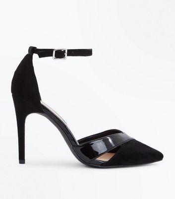 Wide Fit Black Suedette Patent Panel Courts