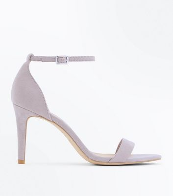 Wide Fit Grey Suedette Stiletto Heeled Sandals