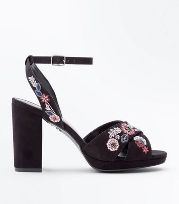 Wide Fit Black Suedette Floral Embroidered Heeled Sandals