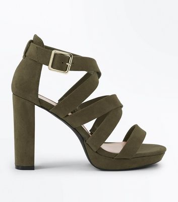 Wide Fit Khaki Suedette Strappy Platform Sandals