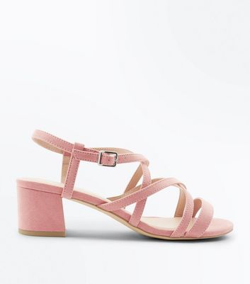 Wide Fit Pink Suedette Mid Heel Strappy Sandals