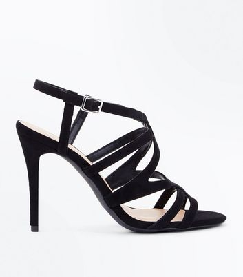 Wide Fit Black Suedette Strappy Stiletto Sandals