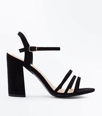 Wide Fit Black Suedette Triple Strap Sandals