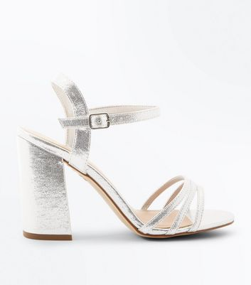 Wide Fit Silver Metallic Triple Strap Sandals