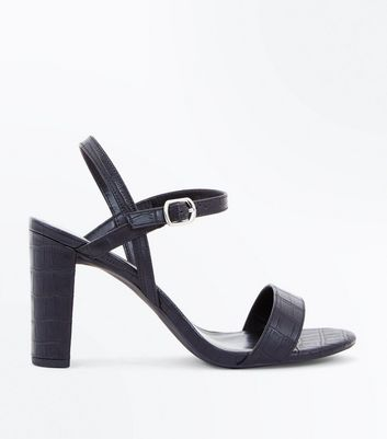 Wide Fit Black Croc Texture Heeled Sandals