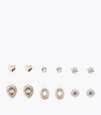 6 Pack Iridescent Gem Embellished Stud Earrings