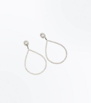 Silver Diamante Oversized Teardrop Earrings