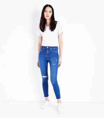 Bright Blue Distressed High Waist Skinny Hallie Jeans