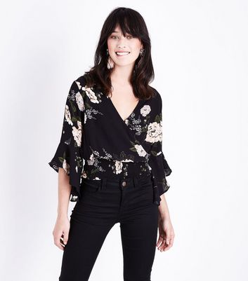 AX Paris Black Floral Print Wrap Front  Top