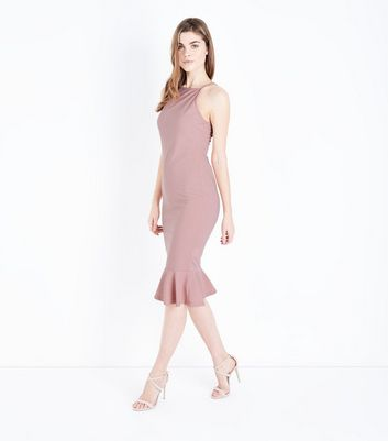 Ax Paris Pink Frill Hem High Neck Midi Dress by New Look