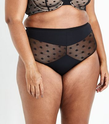 Curves Black Polka Dot Mesh High Waist Briefs