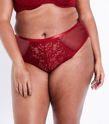 Curves Burgundy Lace and Fishnet Brazilian Briefs
