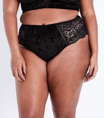 Curves Black Velvet and Lace Brazilian Briefs