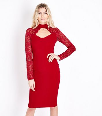 AX Paris Red Lace Sleeve Choker Neck Midi Dress