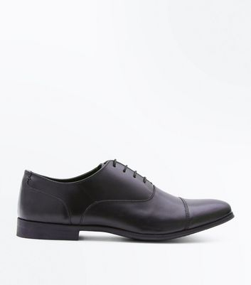 Black Leather Toe Cap Derby Shoes