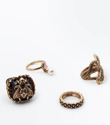 4 Pack Gold Snake and Bee Rings