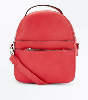 Red Convertible Strap Micro Backpack
