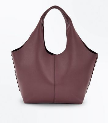 Dark Brown Whipstitch Side Slouchy Tote Bag