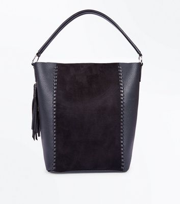 Black Stitch Tassel Side Hobo Bag