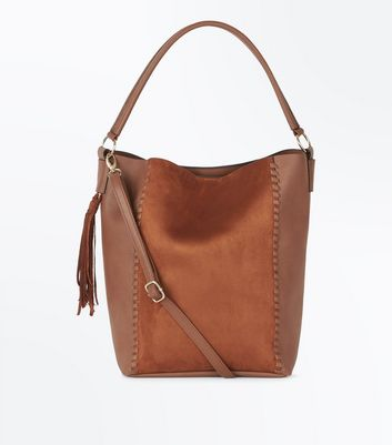 Tan Whipstitch Tassel Side Tote Bag