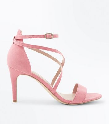 Bright Pink Suedette Strappy Stiletto Sandals