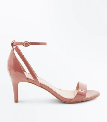 Pink Patent Cut Out Side Stiletto Sandals
