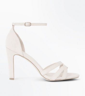 Nude Suedette Slim Block Heel Strappy Sandals