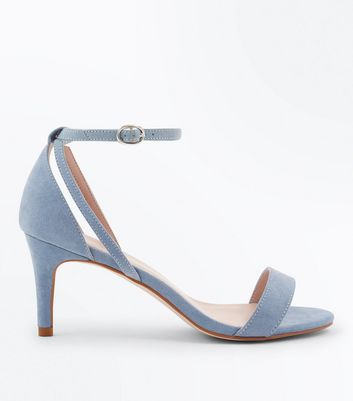 Blue Suedette Cut Out Side Stiletto Sandals
