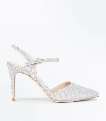 Silver Glitter Cross Strap Side Pointed Courts