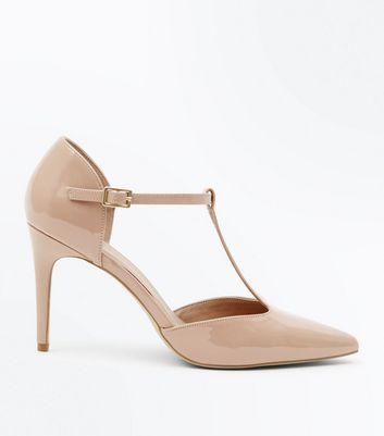 Nude Patent Pointed Stiletto Heel Courts