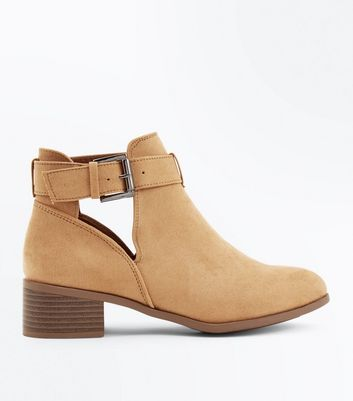 Teens Light Brown Suedette Cut Out Boots