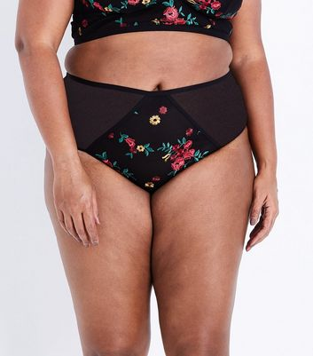 Curves Black Floral Embroidered Brazilian Briefs