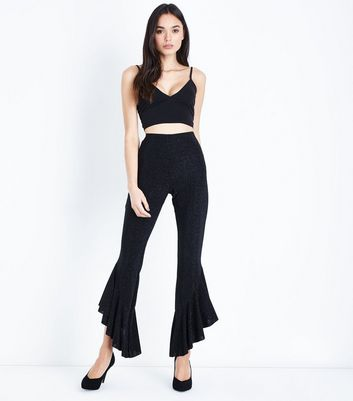 Black Glitter Frill Hem Trousers