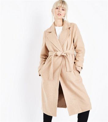 Tall Cream Collared Tie Waist Midi Coat
