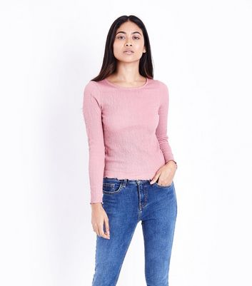 Petite Shell Pink Crinkle Long Sleeve Top