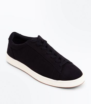 Black Suedette Contrast Sole Trainers