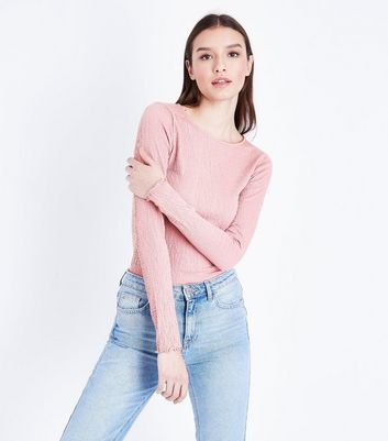 Tall – Langärmliges Crinkle-T-Shirt in Rosa