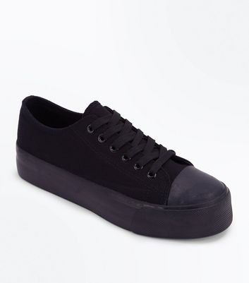 Black Chunky Sole Lace Up Trainers