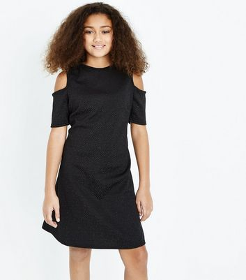 Teens Black Glitter Cold Shoulder Skater Dress