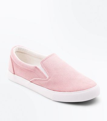 Pink Cord Slip On Trainers