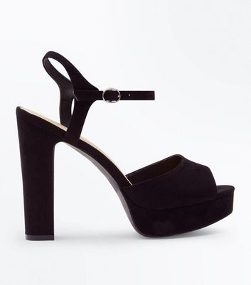 Wide Fit Black Suedette Platform Peep Toe Heels