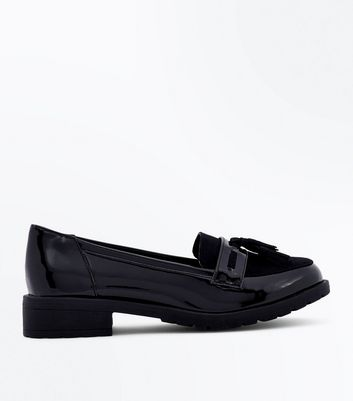 Teens Black Patent Chunky Sole Loafers